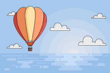 Hot air balloon in blue sky with clouds under the sea for travel agency, motivation, business development, greeting card, banner