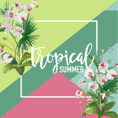Tropical Orchid Flowers Summer Banner, Graphic Background, Exotic Floral Invitation, Flyer or Card. Modern Front Page in Vector