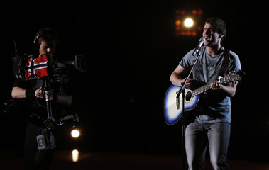 Dice from Belgium performs his song Me And My Guitar during a rehearsal for the Eurovision Song Contest in Oslo