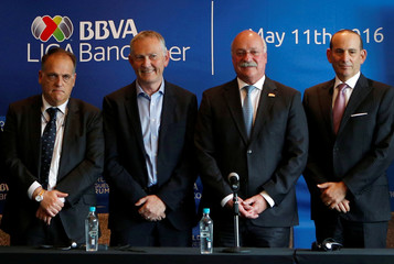 Enrique Bonilla, President of the Mexican first division, MLS commissioner Don Garber, Richard Scudamore, Chief Executive of the Premier League and Spain's professional football league (LFP) president Javier Tebas, in Mexico City