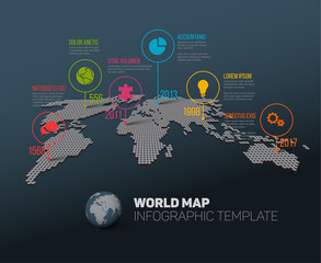 World map with pointer marks and icons