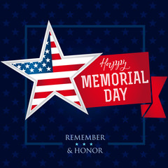 Memorial day remember & honor star banner. Happy Memorial Day vector background template with star in national flag colors