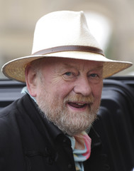 Danish cartoonist Westergaard, who sparked anger in the Muslim world with his caricatures of the prophet Mohammed, arrives for a news conference before the awarding ceremony in Potsdam