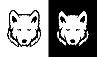 Head of Wolf in black and white colors