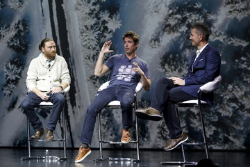 Chris Milk and Mike Woodman speak with  Robert Kyncl during a YouTube keynote address at the 2016 CES trade show in Las Vegas