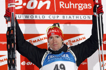 Norway's Emil Hegle Svendsen celebrates on the podium after winning the men's 10 kilometres sprint race at the Biathlon World Cup in Ruhpolding