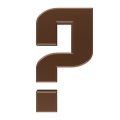 question mark 3d colored brown interrogation point punctuation mark asking sign isolated on white business in high resolution for business presentation and print