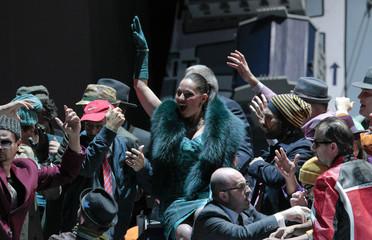"Singer Machaidze performs on stage during a dress rehearsal of Giacomo Puccini's opera ""La Boheme"" in Salzburg"