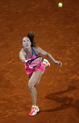 Jankovic of Serbia returns the ball to Pavlyuchenkova of Russia during their women's singles match at the Madrid Open tennis tournament