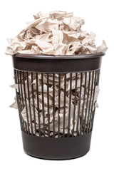 Plastic trash can full of crumpled paper isolated on white background