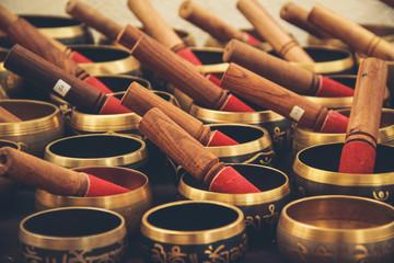 Tibetan singing bowl in a street market