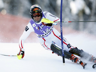 Matt of Austria clears gate during first run of men's slalom race at Alpine Skiing World Cup in Bansko