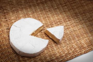 Fresh slice of Camembert cheese natural