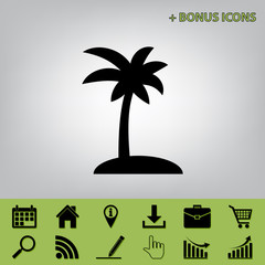 Coconut palm tree sign. Vector. Black icon at gray background with bonus icons at celery ones