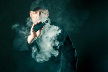 Vaper shows electronic cigarette