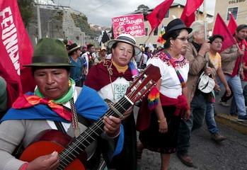 Protesters march in Quito