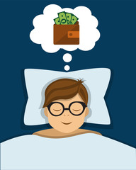 Office worker sleeps and sees in a dream a wallet with money and business success