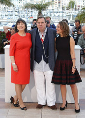 "Cast members Marion Bailey, Timothy Spall and Dorothy Atkinson pose during a photocall for the film ""Mr. Turner"" in competition at the 67th Cannes Film Festival in Cannes"