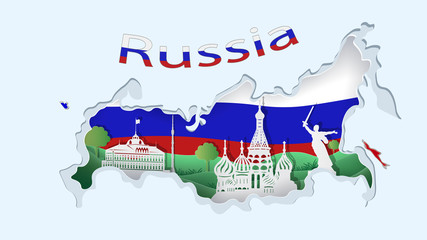 Abstract of paper art carve to Kremlin with blue, white and red background look like Russian map and flag, russian culture concept and tourism idea, vector art and illustration.