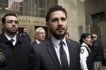 Actor Shia LaBeouf exits the Manhattan Criminal Courthouse following an appearance in New York