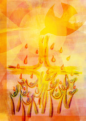 Holy Spirit, Pentecost or Confirmation symbol with a dove, people and tongues of flame or fire. Abstract modern religious digital illustration background