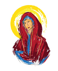 Blessed Virgin Mary abstract artistic watercolor style digital painting, made without reference image.