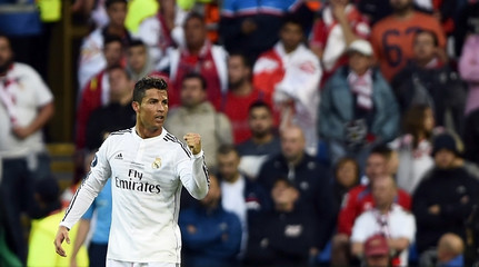 Real Madrid's Ronaldo celebrates after scoring a goal against Sevilla during the UEFA Super Cup final soccer match at Cardiff City stadium