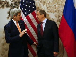U.S. Secretary of State Kerry and Russian Foreign Minister Lavrov arrive for ther meeting in Vienna