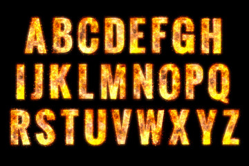 Fire alphabet letters. isolated on black background