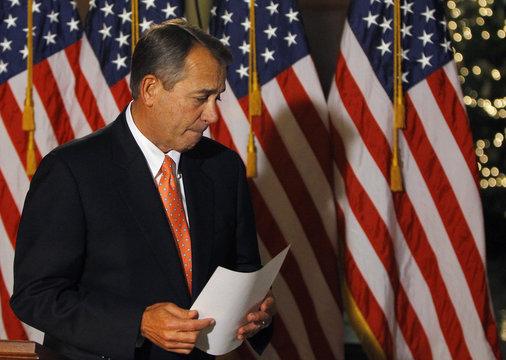 House Speaker Boehner departs after making brief statement to media at Capitol in Washington