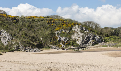 Beach at Broad Haven South, at the foot of Bosherton Lakes, Pembrokeshire, South Wales in the UK in Spring.