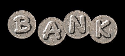 BANK – Coins on black background
