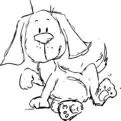 cute dog cartoon - black sketch