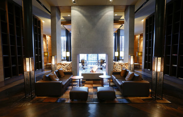 A general view shows a hall of the Chedi Andermatt hotel during a media preview in Andermatt