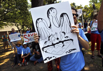 A demonstrator holds a drawing of birds covered in oil during a rally in New Orleans,