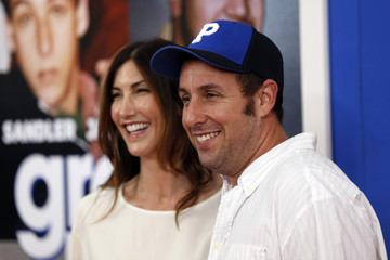 """Cast member Adam Sandler arrives with his wife Jackie Sandler for the premiere of the film """"Grown Ups 2"""" in New York"""