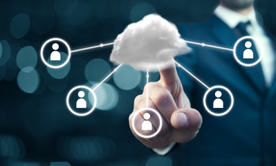 Business man with cloud and social network