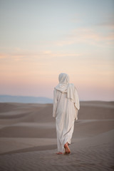 Fototapeta Jesus Christ walking through the sand at sunset with light pink and blue clouds, St. Anthony, Idaho obraz