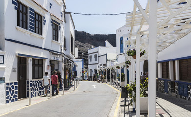 Sidestreet at Puerto de las Nieves on Gran Canaria, one of the Canary Islands in Spring.