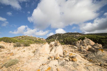 Zen balanced stones on a rural mountain in Sardinia, Italy
