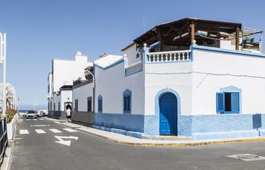 Colourful building and road near the beach at Puerto de las Nieves on Gran Canaria, one of the Canary Islands.