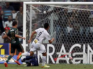 Ricardo Oliveira of Santos kicks the ball to score against Palmeiras during their Sao Paulo state championship final soccer match in Santos
