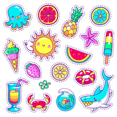 Set of neon comic stickers in pop art style with sea animals, food and things in vector. Doodle patch badges with different summer holiday attributes on white background.