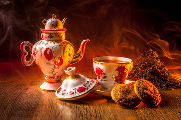 Black tea. Tea ceremony. Tea drinking in the Russian tradition.