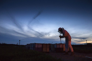 Beekeeper Robert Harvey crosses over a barricade as he works to transfer Italian honey bee colonies pollinating a blueberry field near Columbia Falls, Maine