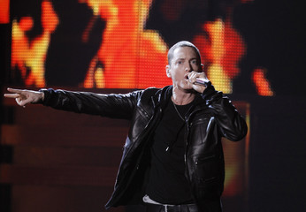Eminem performs at the 53rd annual Grammy Awards in Los Angeles