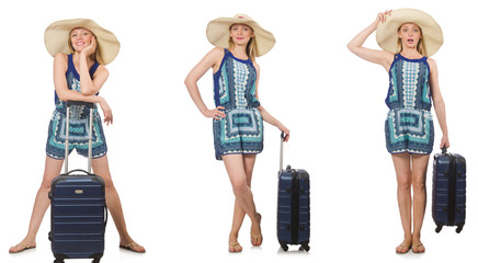Collage of woman preparing for summer vacation isolated on white