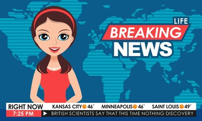 TV breaking news female in red dress in a studio