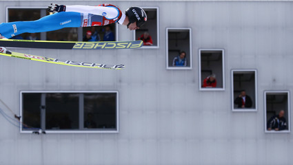 Norway's Bardal soars past the judges tower to take the third place in the second jumping of the 61st four-hills ski jumping tournament in Garmisch-Partenkirchen