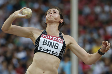 Bing of New Zealand competes in the shot put event of the women's heptathlon during the 15th IAAF World Championships at the National Stadium in Beijing